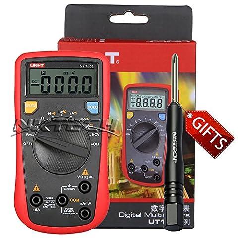 Nktech Uni-T Ut136d Mini multimètre numérique Ncv AC DC Tension courant fréquence résistance Duty Cycle diode testeur Mètre 3999Compte kit sondes avec Tl-1Tournevis