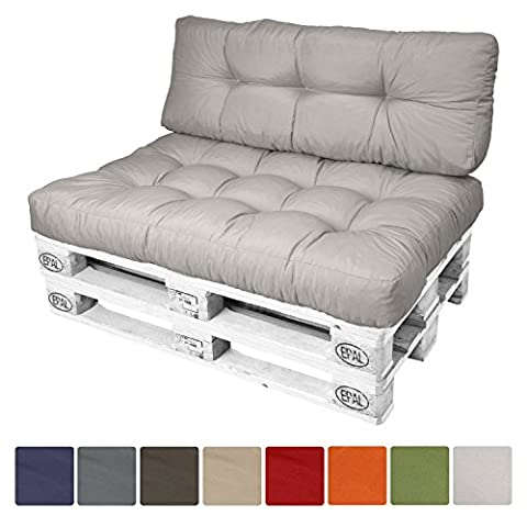 Beautissu® Euro Pallet Cushion ECO Style Pallet Furniture Cushion 120 x 40 x 15 cm Light Grey Back Cushion Outdoor