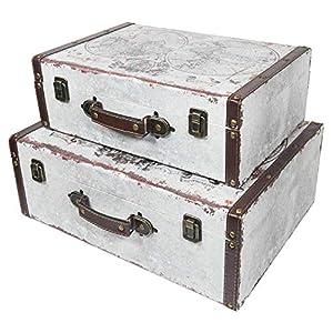 HMF 6430700 Koffer Vintage | 2er Set | Holz Aufbewahrungsbox | Design Welt