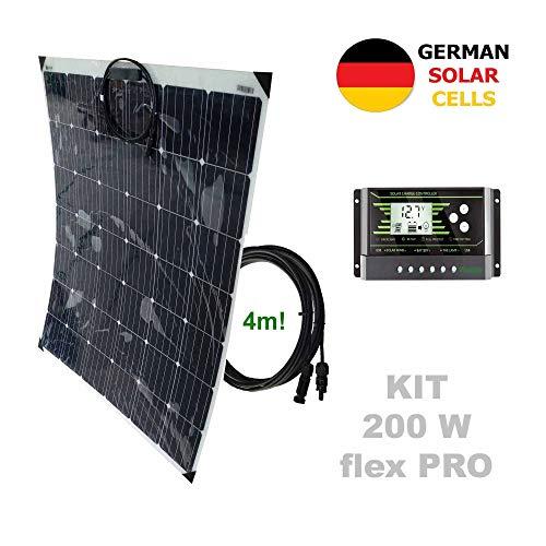 Kit 200W flex PRO 12V panel solar semi-flexible células alemanasComposición del Kit Solar:Panel solar semi-flexible 200W 12V células alemanasRegulador solar de 20A 12V/24V con display y 2 USB LCD VIASOLARPar de cable solar de 4m y 4mm2 con 1 conector...