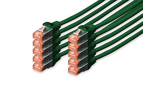 DIGITUS - 10 Stück - CAT 6 S-FTP Patchkabel, 3m, Netzwerk LAN DSL Ethernet Kabel, LSZH, Kupfer, AWG 27/7, Set, Grün