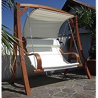 ASS MERU Balancelle de jardin 2 places en bois avec toit
