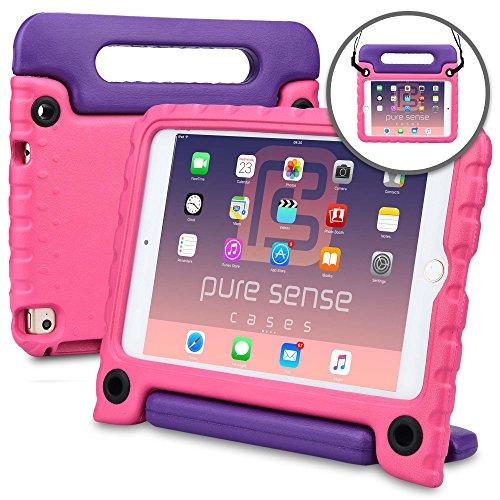 Apple iPad Mini 4 Custodia per Bambini, PURE SENSE BUDDY Custodia Protettiva Anticaduta per Bambini, Robusta, Cover con Tracolla, Antibatterica, Antigermi, Massima Solidità + Manico, Supporto, Pellicola Protettiva, Rosa