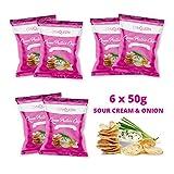 Fettarme Protein Chips als leckerer Fitnesssnack   Gesunde Alternative zu herkömmlichen Kartoffelchips   Knusprige Gym Queen Eiweiß Chips (6 x 50g Tüte) - Sour Creme & Onion
