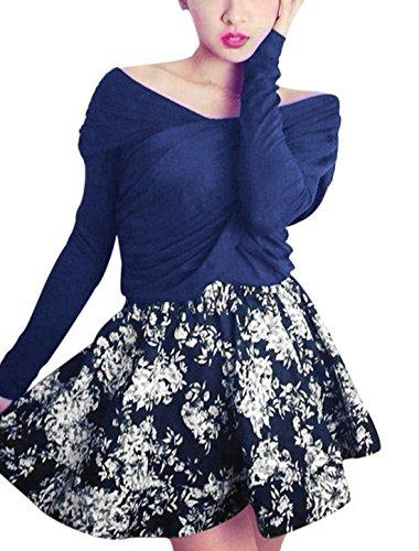 Femme Sexy haut col en V Imprimé Floral avec jupe évasée Bleu - Bleu marine