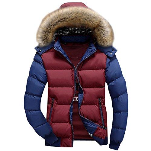 Uomini giacca calda casuale sottile da uomo cappotto con cappuccio invernale felpa con cappuccio parka rosso blu m