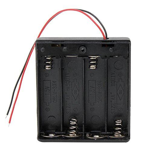 KEESIN AA 6V Batteriehalter Fall Kunststoff Akku Aufbewahrungsbox mit EIN / AUS Schalter und Befestigung Kabelbinder (4 Solts * 4 Stück) (Gehäuse Pack)
