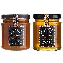 Idea Regalo - Confettura di Frutta Biologica alle More Selvatiche Senza Zucchero, e Miele di Fiori di Campo Inglese Non Pastorizzato, Set Regalo da 2 Vasetti