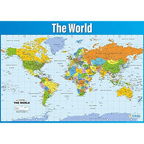 Geography posters amazon world map poster geography poster for students teachers large map of the world high quality gloss paper wall chart a1 841mm x 594mm gumiabroncs Images