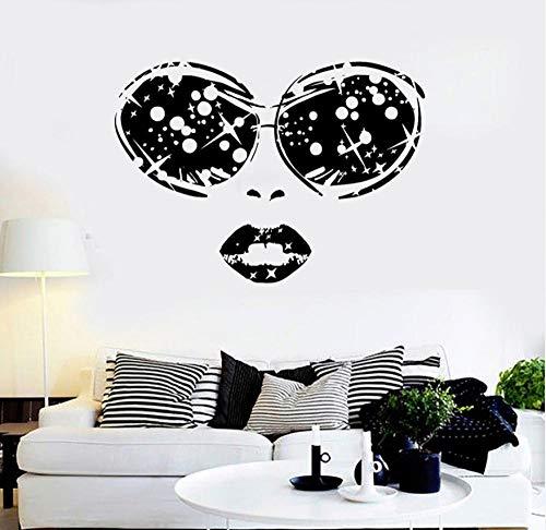 Mrlwy Schönheitssalon Vinyl Wandaufkleber Frau Gesicht Brille Lippen Mädchen Abnehmbare Aufkleber Wohnzimmer Schlafzimmer Dekoration 58x42 cm