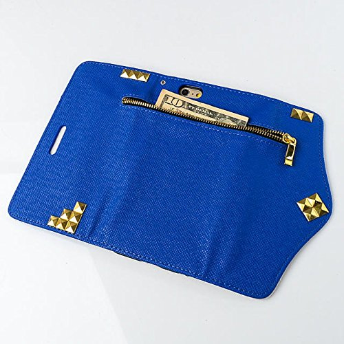 "inShang iPhone 6 Plus iPhone 6S Plus Coque 5.5"" Housse de Protection Etui pour Apple iPhone 6+ iPhone 6S+ 5.5 Inch, Coque Avec ZIPPER + Pochette + Rivet Decoration, Cuir PU de premiere qualite+ Qualit zipper rivet navy blue"