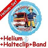 Carpeta Folienballon Set * Feuerwehrmann Sam + Helium FÜLLUNG + Halte Clip + Band * für Kindergeburtstag Oder Motto-Party // Deko Feuerwehr Happy Birthday