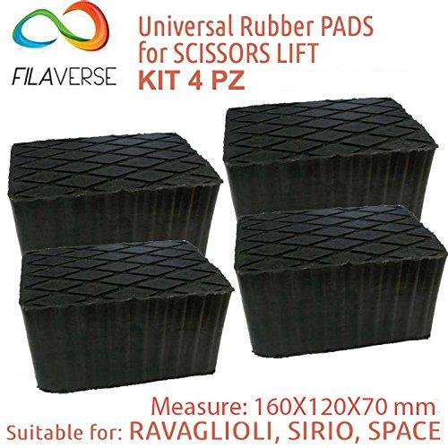 Gummiauflage - KIT mit 4 Gummiklötzen für Kfz Hebebühnen. Abmessungen des Gummiklotzes 160 x 120 x 70 mm