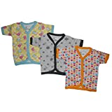 #7: NammaBaby Cotton Front Open Half Sleeves vest- Tshirt -Multi PRINT Set Of 3 (6-9 months)