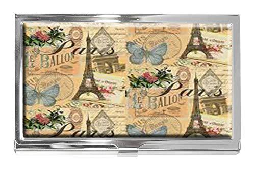 Visitenkartenetui, französisches Paris, Vintage-Collage, Frankreich, Europa, Edelstahl, für Namenskarten und Ausweise