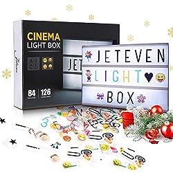 Jeteven Boîte Lumineuse avec 210 Lettres Coloris Cinéma Boîte Lumineuse A4 Enseigne Lumineuse LED avec 210 Lettres et Symboles Décoration Chambre Mariage Fête