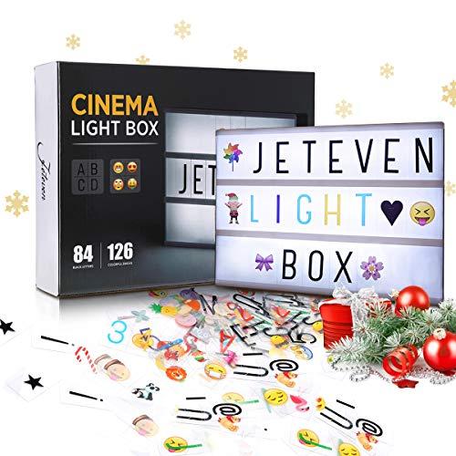Jeteven Boîte Lumineuse avec 210 Lettres Coloris Cinéma Boîte Lumineuse A4 Enseigne Lumineuse LED avec 210 Lettres et Symboles Décoration Chambre Mariage Fê