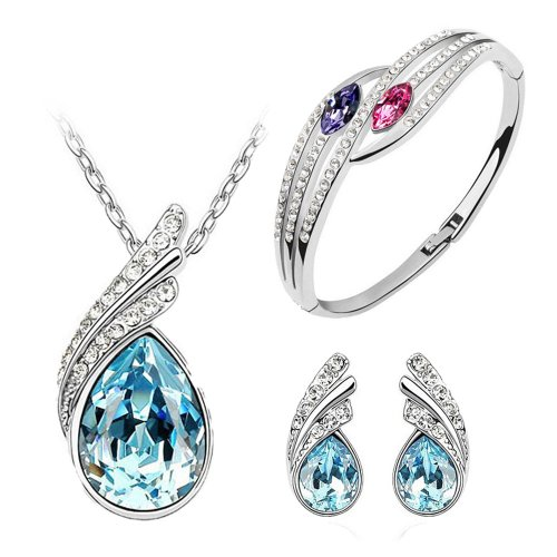 Beautiful Ocean Blue Austrian Crystal Necklace Set for Women- Combo With Crystal Earrings And Elegant Crystal Bracelet  available at amazon for Rs.449