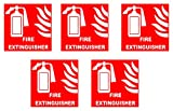 #8: SignTech PVC, Night Glow Vinyl and Normal Vinyl Fire Extinguisher Signage, 1.52 cm x 0.5 cm x 1.52 cm, Red, Pack of 5