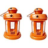Wacky Decorative Antique Hanging Tealight Candle Holder Lantern Indoor Outdoor Home Decoration Beautiful For Gifts Set Of 2 (Orange)