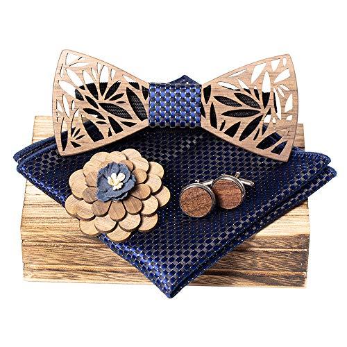 KOOWI Juego de Pajarita de Madera para Hombre Hecho a Mano clásico con bufanda cuadrada, Gemelos, Broche y Caja de Regalo (C2)