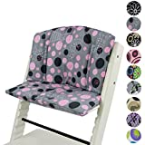 BAMBINIWELT Ersatzbezug, Kissen-Set für Hochstuhl/Kinderstuhl Stokke Tripp Trapp, Sitzverkleinerer Design (RUND) (grau rosa Katze)
