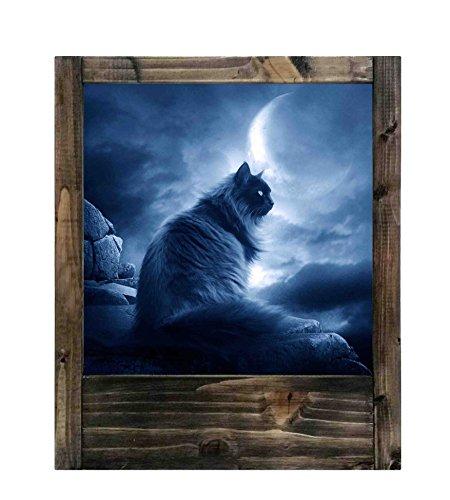 Lampe en bois Chat noir