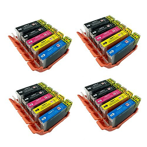 PerfectPrint Ersatz-Tintenpatrone, kompatibel mit Canon Pixma iP4200,iP4300,iP4500,iP5100,iP5200,iP5200R, iP5300,MP500,MP530,MP600,MP600R, MP610,MP800,MP800R, MP810,PGI-5/CLI-8(BK/C/M/Y, 20er Pack)