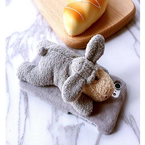 Lovely mignon 3d Animal en peluche poupée Jouets en peluche téléphone portable Coque pour iPhone Coque arrière Donkey 7Plus Sheep 7