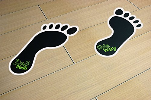 Affordable Footprint Floor Stickers / Graphics – 297mm x 130mm Overall Size – Price per Pack of 50 Pairs (Add your own message with no extra charge) on Line