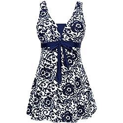 Wantdo Traje de Baño 1 Pieza para Mujer Monokini Estampado Floral con Falda 52 Azul de Mar(9007)