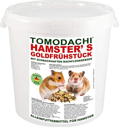 Tomodachi Hamsterfutter mit tierischem Eiweiß, Alleinfuttermittel für Hamster mit Bachflohkrebsen (Gammarus), leckerem Gemüse, Körnern und Saaten, Hamster's Goldfrühstück 1kg Eimer