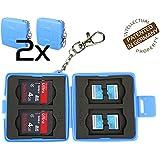 Étui de protection Flashwoife 2x Turtle-SD4MSD8 anti-poussière pour cartes mémoire, 4 SDHC et 8 MicroSD, boitier pour cartes de couleur bleue