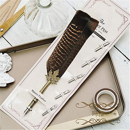Bubble Flare Kit (Antike Schreibfeder Dip Pen Stift, Gänsekugelschreiber Kalligraphiestift + Halter + 5 Stück austauschbare Schreibfeder 26,8 cm)