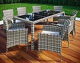 VCM Poly Rattan 190x90 Gartenmöbel Essgruppe Sitzgruppe Glas Rattanmöbel Gartenset 8 Stühle + 1 Tisch, Grau