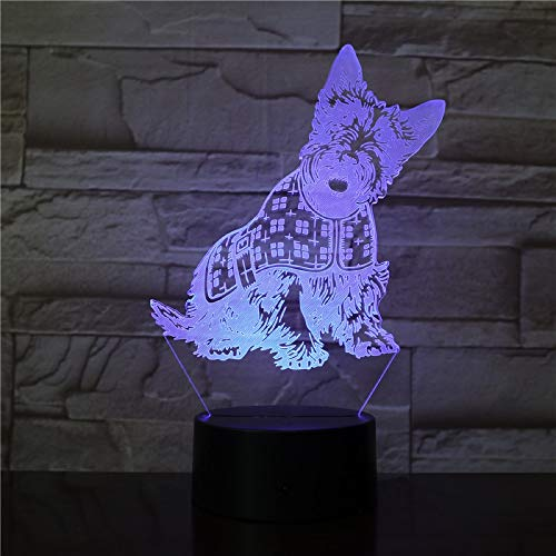 Cambiamento di colore di operazione della batteria del regalo preferito della ragazza del cane da compagnia del cucciolo con luce notturna sveglia leggera a distanz
