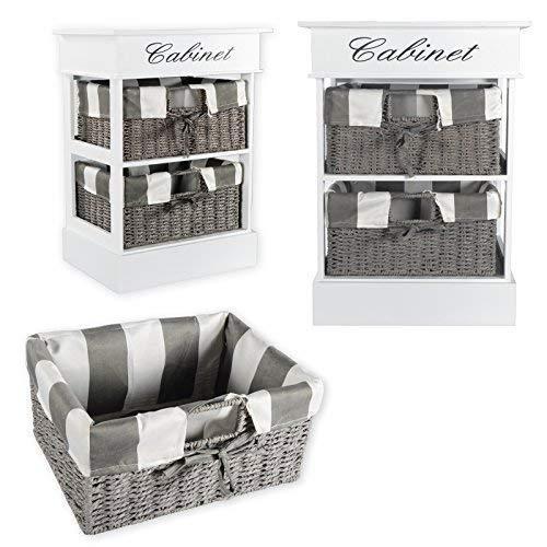 DRULINE Kommode Cabinet aus Holz Beistelltisch Nachttisch Dekoration mit 2 Rattankörbe für extra Stauraum Sidebord | LET24X | TSR58ws-2 | L x B x H 38 x 28 x 52 cm | Weiß Grau