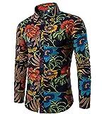 CHENGYANG Herren Slim Fit Freizeit Hemd Langarm Blumen Drucken Shirts Top Blouse Hemden (Style#9, M)