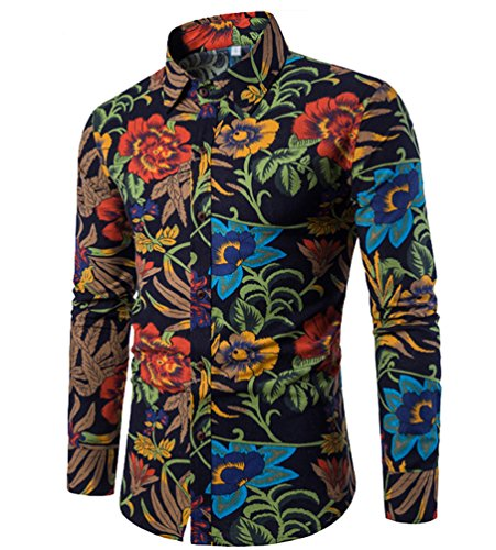 Chengyang uomo floreale stampa camicie maniche lunghe moda shirts slim fit causal camicetta top (style#9, 2xl)