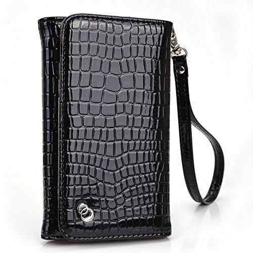 Kroo universel pour smartphone avec bracelet croco Étui portefeuille pour Lenovo A328/A526Mobile noir - noir noir - noir