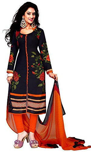 Dresses for women party wear Designer Dress Material Today best offer buy online in Low Price Sale Navy Blue Color Cotton Fabric Free Size Salwar Suit