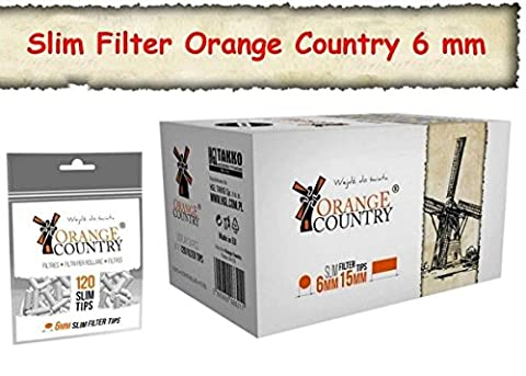 34 x 120 stück ORANGE COUNTRY Slimfilter Drehfilter 6mm SLIM Zigarettenfilter (4080 Stück)