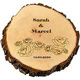 Geschenke 24 Baumscheibe zur Hochzeit mit gravierten Rosen (Klein (15,5 cm)) – Personalisierte Baumscheibe 30 cm in Vier Größen – mit Namen und Datum zur Hochzeit – Hochzeitsgeschenke für Brautpaar