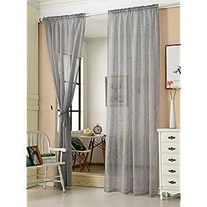 ab47ae810757f3 WOLTU VH5859dgr-2, 2er Set Gardinen transparent mit Kräuselband Leinen  Optik, Doppelpack Vorhang Stores lichtdurchlässig Fensterschal für  Wohnzimmer ...