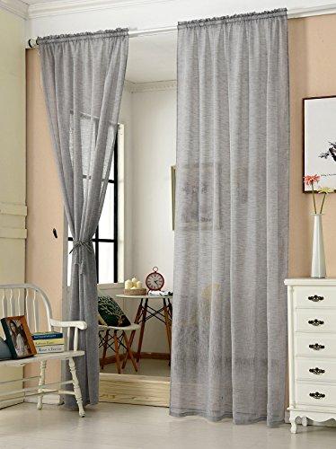 WOLTU® VH5860dgr-2, 2er Set Gardinen transparent mit Kräuselband Leinen Optik, Doppelpack Vorhang Stores lichtdurchlässig Fensterschal für Wohnzimmer Kinderzimmer Schlafzimmer, 140x225 cm Grau - Für Vorhänge Wohnzimmer-sets