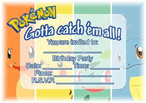 Pokemon Geburtstag Party lädt-Teilen Landschaft Design-Party Supplies/Zubehör (12Stück A5Einladungen) WITHOUT Envelopes