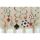 Casino Party Hängedeko Las Vegas Girlande Deko Spirale Poker Black