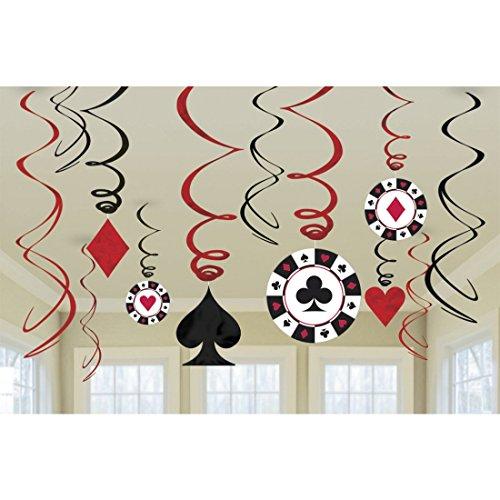Casino Party Hängedeko Las Vegas Girlande Deko Spirale Poker Black Jack Dekogirlande Dekohänger Roulette Deckenhänger