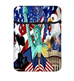 America Wallpaper 10 to 10.6 Inch Laptop Sleeve Case with Zipper & Built-in 2 Pockets For Charger & Mouse
