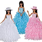 Lance Home® 3pz Sera Party Abito Vestito Buddle Lungo A Scale + 3pz Cappello Per Bambola Barbie Dolls